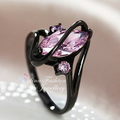 18K Black Gold Plated Cubic Zirconia Marquise-Cut Crossover Baby Pink Ring