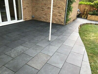 Natural  Black Slate Paving Garden Patio Slabs 7m2 600x400mm 15 to 20mm Thick
