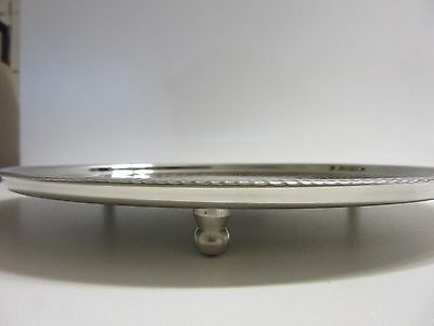 NEW!! Round Silver Footed Cake Plate Tray Fruit Platter with Pattern 28.5cm D