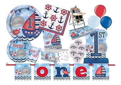 NEW 1st First Birthday Boys Blue Red Sea Side Nautical Party Supplies Tableware