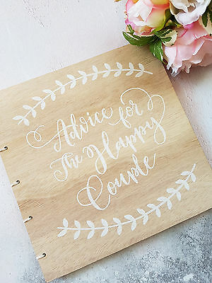 Personalised Wedding Guest Book. Rustic Printed Guest Book. Wooden Guest Book.