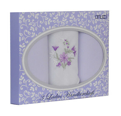 New Ladies 3 Multi-Pack Gift Boxed Embroidered Handkerchief Hankies 3 Colours