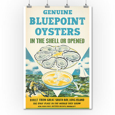 Bluepoint Oysters (Kotula) 1940 - Vintage Ad (36x54 Giclee Print)