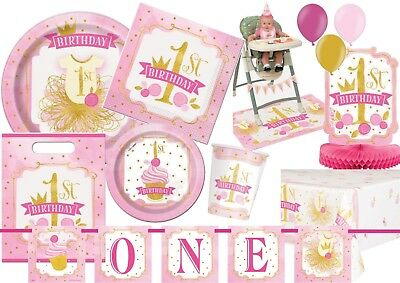 NEW 1st First Birthday Girl Pink and Gold Party Supplies Tableware