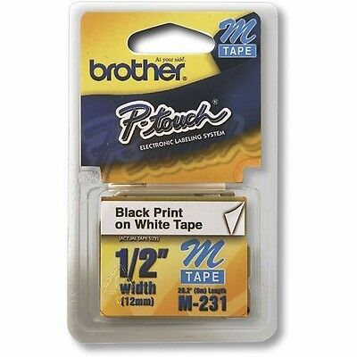 "Brother P-touch Label Tape 1/2"" Black on White Ptouch Label Office Supplies M231"