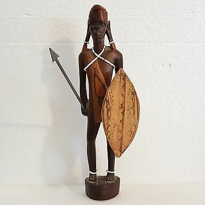 African Kenya Maasai Hand Carved Wood Statue Warrior with Shield and Iron Spear.
