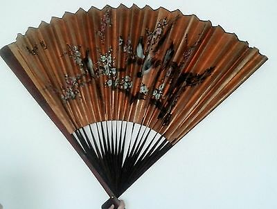 Rare Antique Chinese Gilt Paper Hand Painted Landscape Beauty Calligraphy Fan