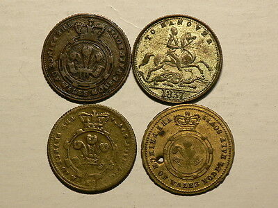 1837 to 1869 Half Sovereign Model  Lot of 4 Victorian Game Tokens  #G5528