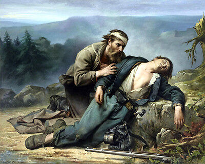 Civil War Painting North And South Wounded Soldier Real Canvas Art Print