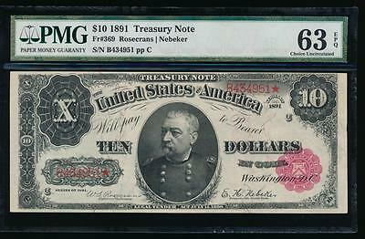 AC Fr 369 1891 $10 Treasury Coin Note PMG 63 EPQ Uncirculated !!!