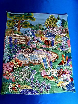 Spectacular English Cottage Garden Picture Panel Superb Raised Hand Embroidery
