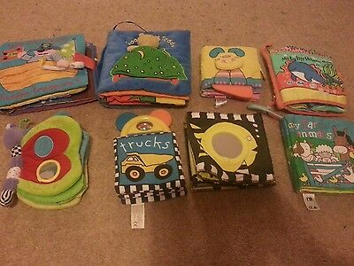 soft baby books x8 rattles,  squeeky, teething