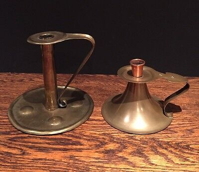 Antique Arts & Crafts Aesthetic Movement Brass Copper Candlestick Holder Vintage