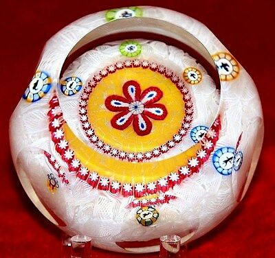 Shimmering PERTHSHIRE Central RED FLOWER Millefiori Canes Art Glass PAPERWEIGHT
