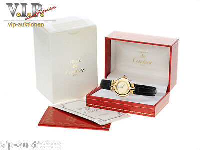 Cartier Montre Uhr Damenuhr Colisee Vermeil Silber/18K Gold Watch + Original Box