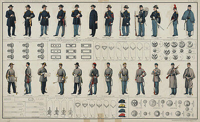 Large Real Canvas Art Print US Civil War Uniforms Union Confederate Soldiers