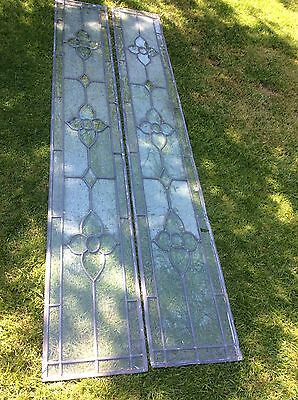 Two Leaded Glass Bevelled Panels