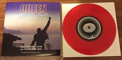 """Queen First And Last 7"""" RED VINYL **Scarce** JOHN DEACON"""