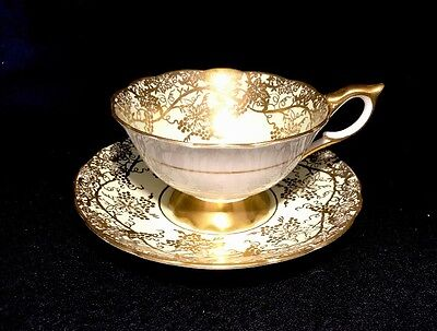 Royal Stafford Green Tea Cup Set Painted With Gold Grapes Bone China England