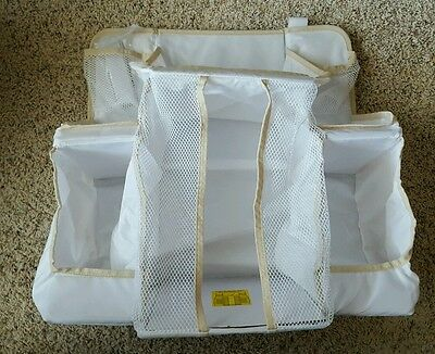 Diaper Caddy for Crib White Nylon Diaper Organizer Nursery Baby Supplies