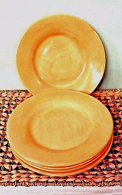 "5 Excellent Pottery Barn Sausalito Amber 12"" Dinner Plates (Dark yellow)~"