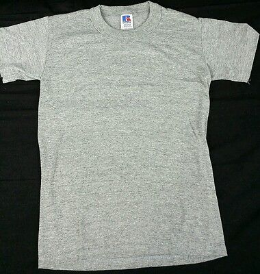 Vintage Youth Rayon Gray T-Shirt Small Russell Athletic Deadstock