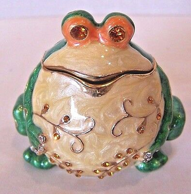 Enameled jeweled green cloisonne fat frog trinket box with jeweled eyes