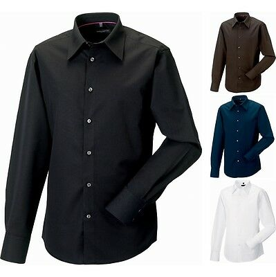 Mens Russell Collection Long Sleeve Tencel® Cotton Blend Fitted Shirt