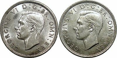 Lot of 2 Great Britain (1942 + 1944) George VI 1/2 Crown - Both high grade