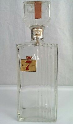 Vintage Seagram's Seven 7 Crown Whiskey Bottle Decanter w/Corked Stopper