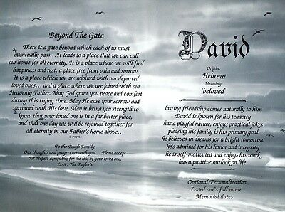 Personalized Name Meaning & Beyond the Gate Poem for Loss of a Special Person