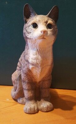 Cute Resin Tabby and White Cat Figurine