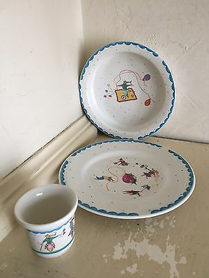 NICE MICE Childrens China Dish Set ~ Made In England ~ Rare HTF 3 Pieces
