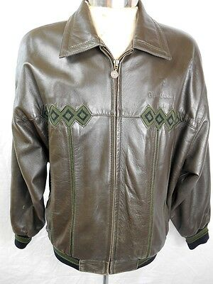 Vintage 1980s Olive Green Soft Italian Leather Pierre Cardin Bomber Jacket M
