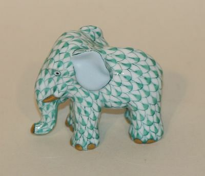Herend Green Fishnet & Gold Baby Elephant Standing Trunk Down Figurine 5265