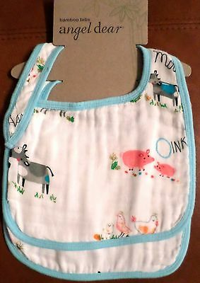 Angel Dear Baby Bamboo Bibs Set/2 Rayon from Bamboo/Cotton Farm Animals Blue #1