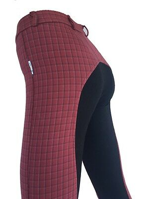 Girls Red Jodhpurs Kids Jodphurs Full Seat Suede Red Check Jodhpurs Sizes 8 -14