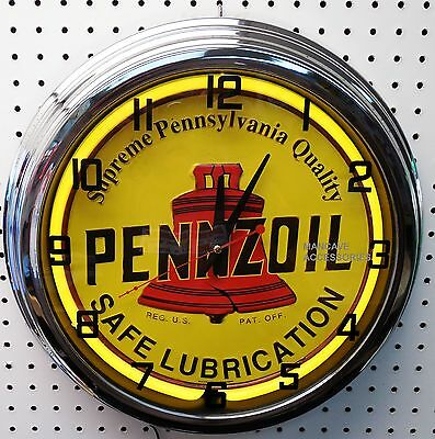 """17"""" PENNZOIL Safe Lubrication Sign Single Neon Clock Gas Station Oil Lube Grease"""