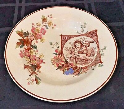 Antique 19 Century Rimmed Soup Bowl Aesthetic Movement Brown Transfer