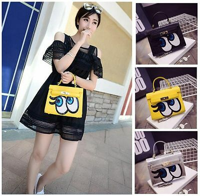 Women Spoof Big Eyes PU Messenger Bag Girl Mini Colorful Cross-body Handbag Case