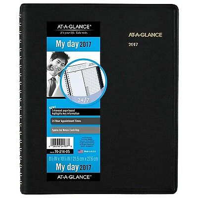 AT-A-GLANCE Daily Appointment Book / Planner 2017 Wirebound 24-Hour 8-1/2 x 1...
