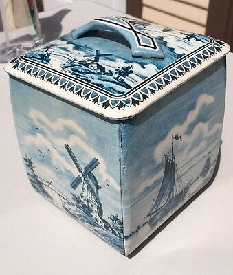 Vintage Blue metal tin Container Holland delft-style windmill Western Germany