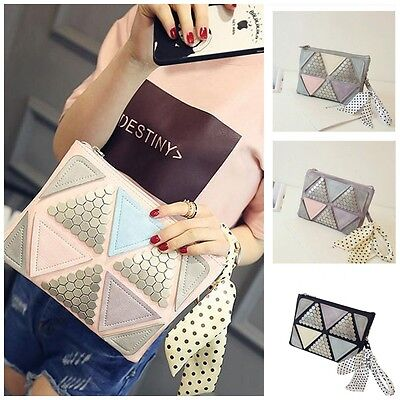 Women Rivet Envelope Handbag Splicing Small Shoulder Messenger Pocket Clutch Bag