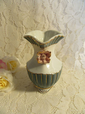 VINTAGE GREEN & WHITE VASE with 3D FLORAL MOTIFS and GILDING - 10.5cm tall