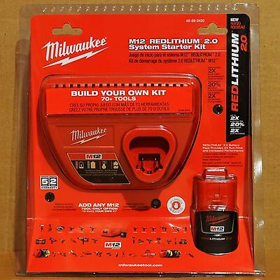 Milwaukee 48-59-2420 M12 2.0Ah Battery Charger Kit for Saw Grinder Drill Driver