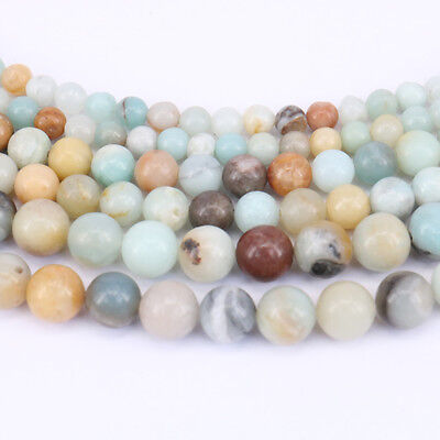 Lots 15'' Natural Multi-color Amazonite Gemstone Stone Spacer Loose Beads 4-10MM