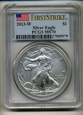 2013 W $1 Burnished Silver American Eagle Ms70 Pcgs First Strike - Flag Label