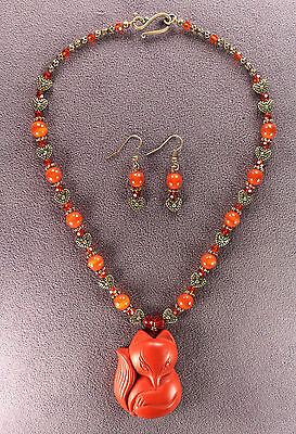 FOXY LADY RED FOX TOTEM NECKLACE EARRINGS SET Pendant Charm Talisman Foxes Heart