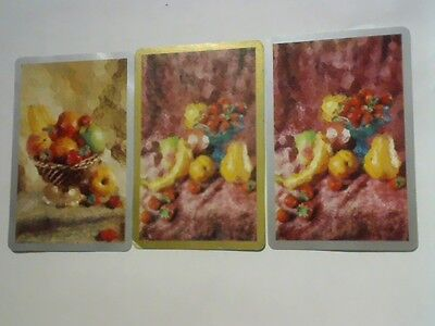 3 Single Swap/Playing Cards -  Set  Fruits in Bowl and on Display(Blank Backs)