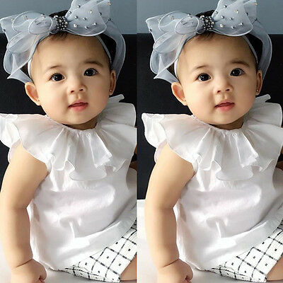 US FAST Infant Toddler Casual Shirt Crew Neck Ruffle Tops Kids Baby Girls Blouse